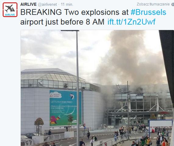 Dwie eksplozje na lotnisku w Brukseli
