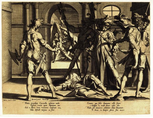 Grafika ukazuje moment, w którym oprawcy prezentują swemu panu ściętą głowę jurysty. W tle zaś widać scenę bratobójstwa.