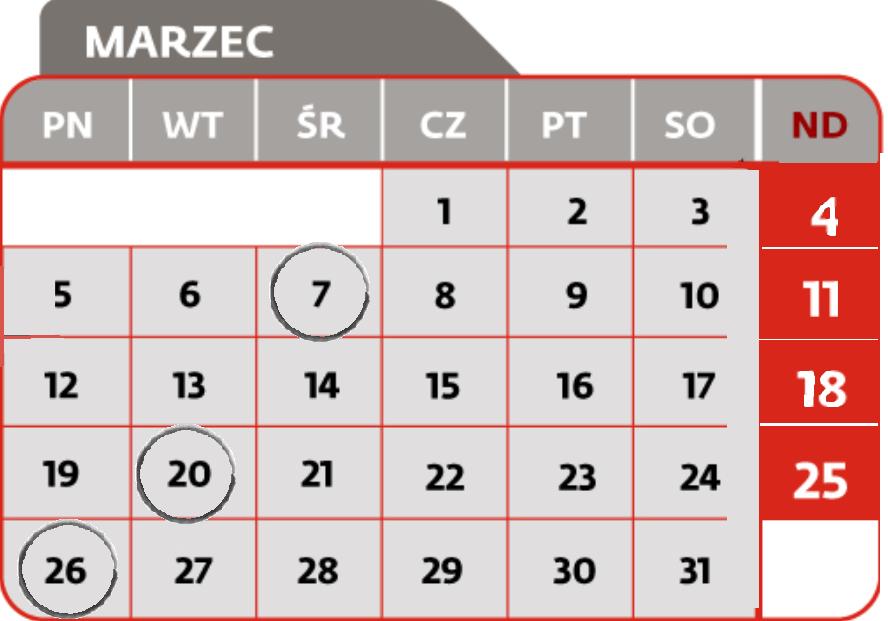 kalendarz podatnika marzec