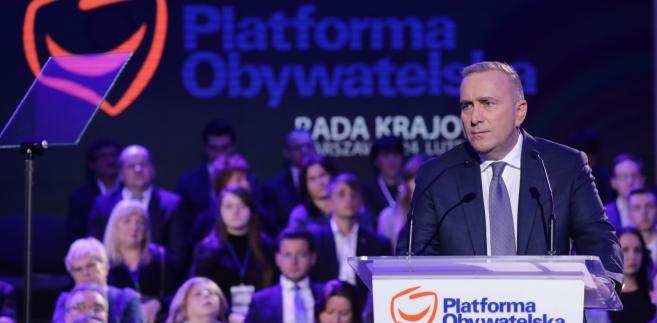 Lider PO Grzegorz Schetyna podczas Rady Krajowej PO
