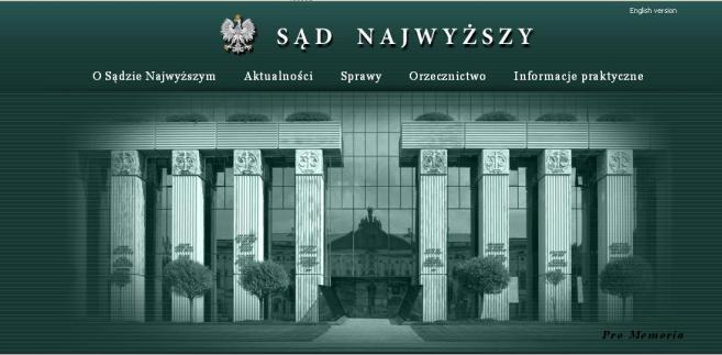 strona internetowa Sądu Najwyższego