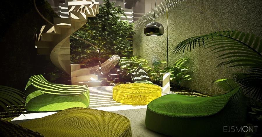 Betonowy dom z wewnetrznym patio - projekt Ejsmont