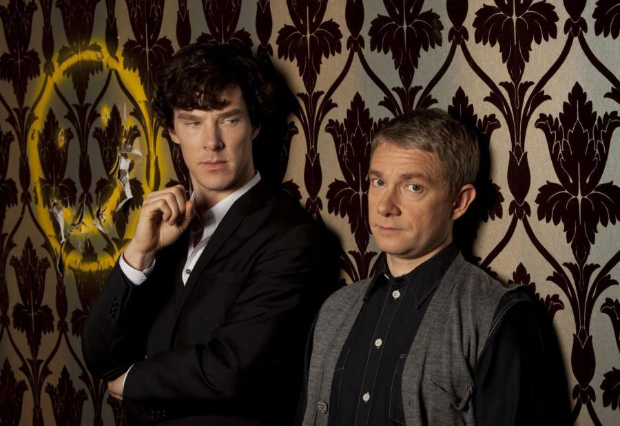 "Benedict Cumberbatch i Martin Freeman w serialu ""Sherlock"""