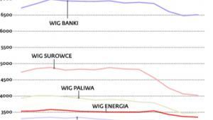 Notowania przykładowych indeksów branżowych na GPW