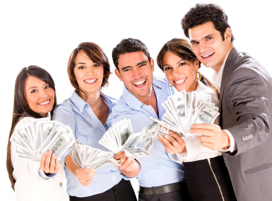 grupa osób, pieniądze