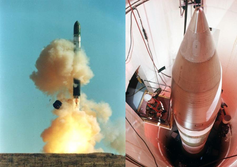 Pociski balistyczne dalekiego zasięgu. Po lewej stronie start rosyjskiej rakiety Dniepr, po prawej amerykańska rakieta Minuteman III w silosie w 1989 roku. Źródło: Creative Commons, ISC Kosmotras (Dniepr) i DOD Defense Visual Information Center (Minuteman)
