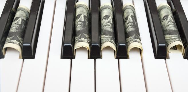 muzyka, pieniądze, kasa, dolar, pianino