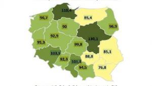 Mapa przeciętnego miesięcznego dochodu na 1 osobę w gospodarstwie domowym w stosunku do średniej dla Polski