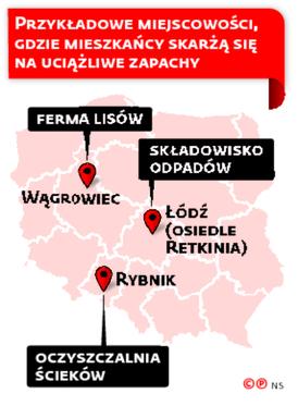 Przykładowe miejscowości, gdzie mieszkańcy skarżą się na uciążliwe zapachy