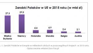 Zarobki Polaków w UE w 2015 roku (w mld zł)