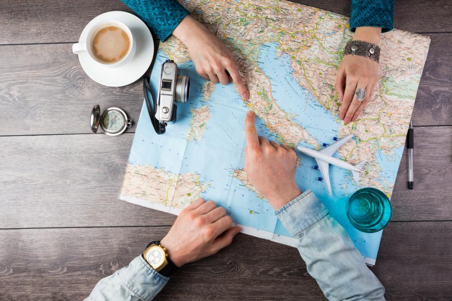 turystyka, turyści, mapa