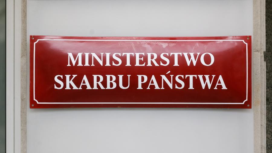 Tablica na budynku Ministerstwa Skarbu Państwa
