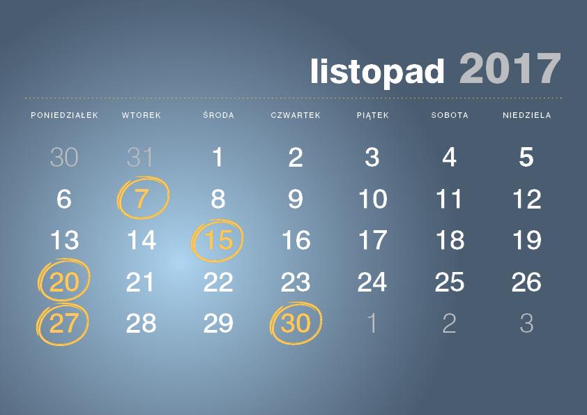 Kalendarz podatnika listopad
