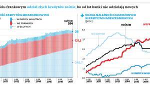 W portfelu frankowym udział złych kredytów rośnie, bo od lat banki nie udzielają nowych