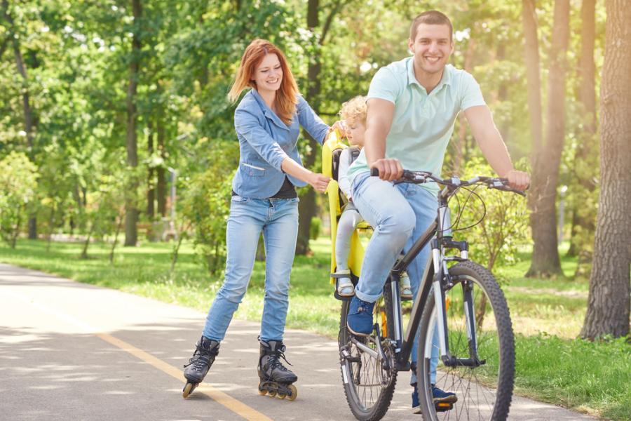 rower, dziecko, rodzina, wypoczynek, rekreacja