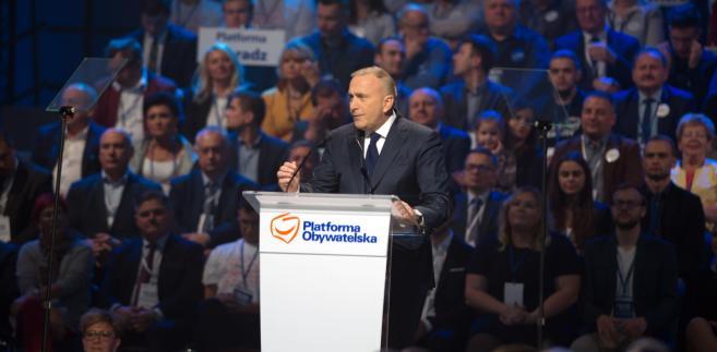 Grzegorz Schetyna podczas konwencji PO