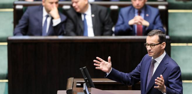 Premier Mateusz Morawiecki przemawia w Sejmie