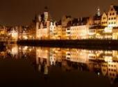 <b>Gdańsk</b><br/> Panorama Gdańska nocą.