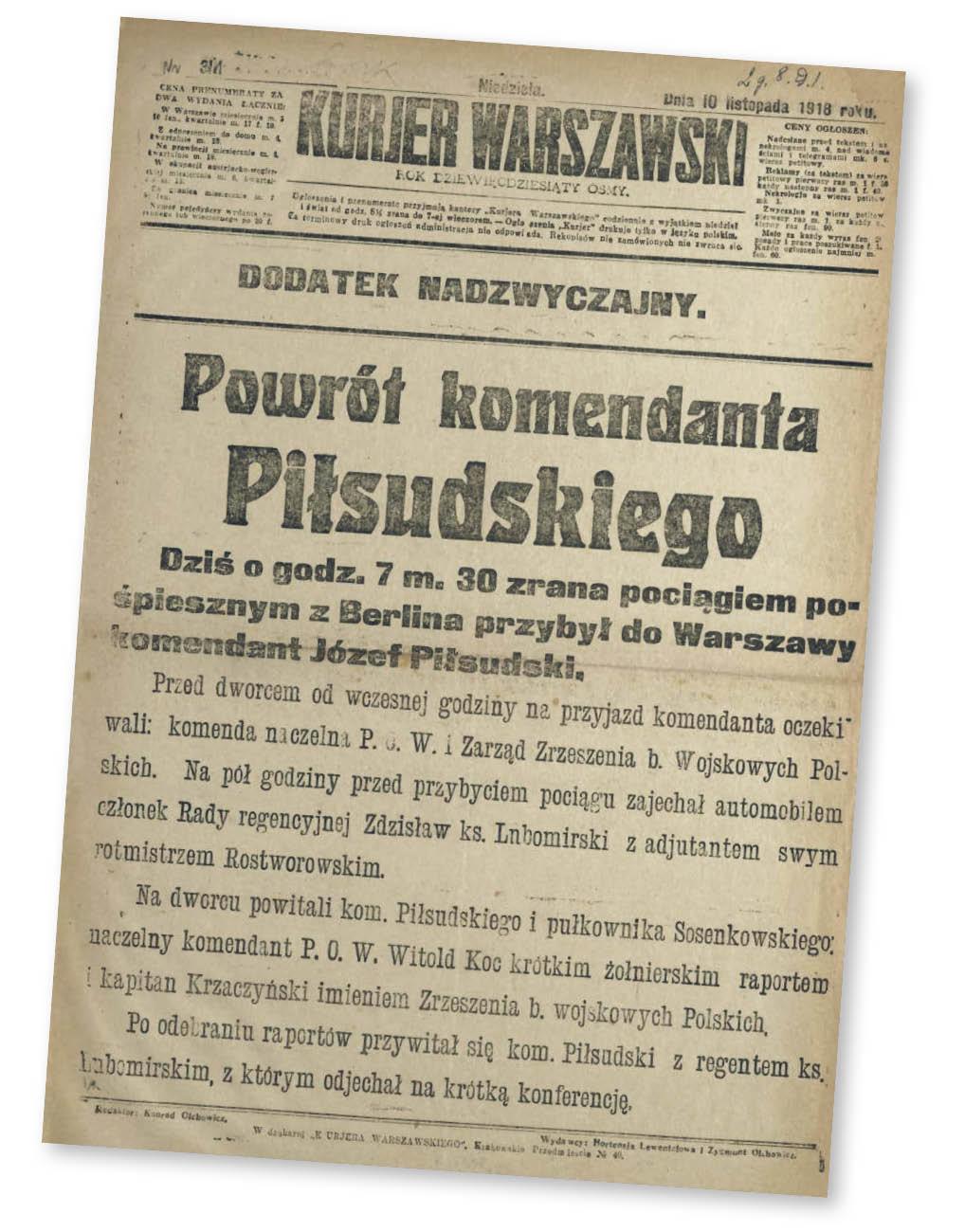 """Pierwsza strona """"Kuriera Warszawskiego"""" z 10 listopada 1918 r."""