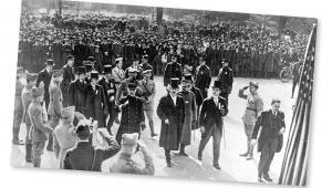 Ignacy Paderewski z drugą misją wojskową gen. Józefa Hallera, Nowy Jork, marzec 1918 r.